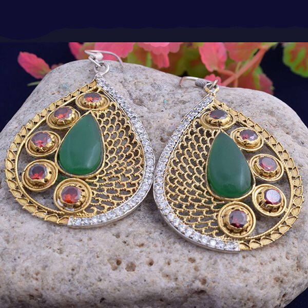 c752c6ec0 925 Sterling silver multi colour cz cut stone with flash gold plated tear  drop shape dangle earring