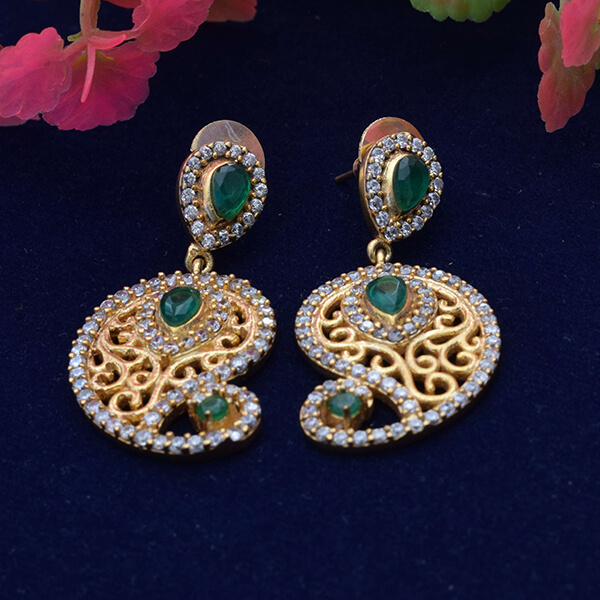 b374c2e33 Green & white cz stone with flash gold plated push back studs dangle earring
